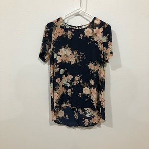 Navy and Blush floral top